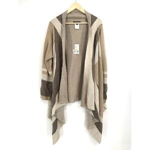 INC Colorblock Cozy Wool Blend Neutral Cardigan